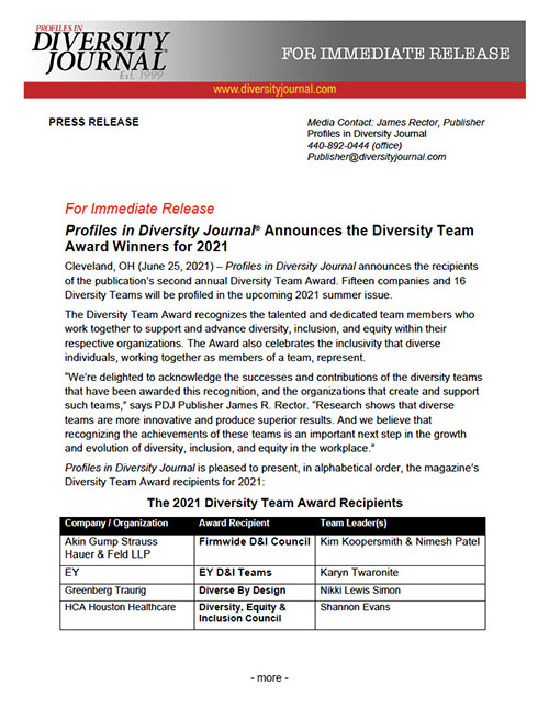 Press Release Profiles in Diversity Journal Announces the Diversity Team Award Winners for 2021