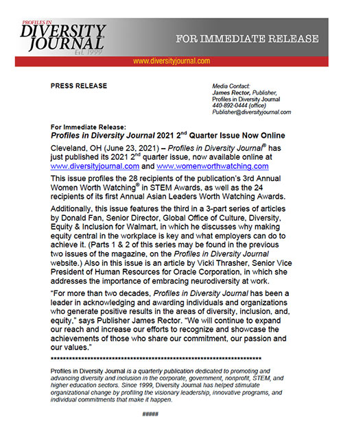 Press Release Profiles in Diversity Journal 2021 2nd Quarter Issue Now Online