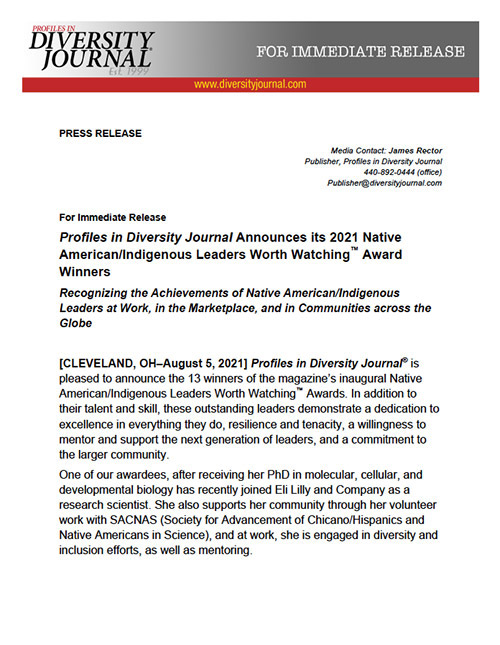 Press Release Profiles in Diversity Journal Announces its 2021 Native American/Indigenous Leaders Worth Watching Award Winners