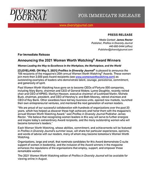 Press Release Announcing the 2021 Women Worth Watching Award Winners