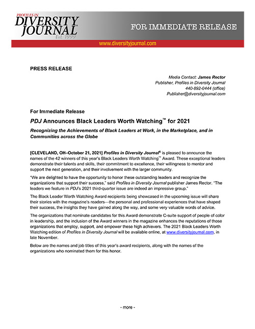 Press Release PDJ Announces Black Leaders Worth Watching for 2021