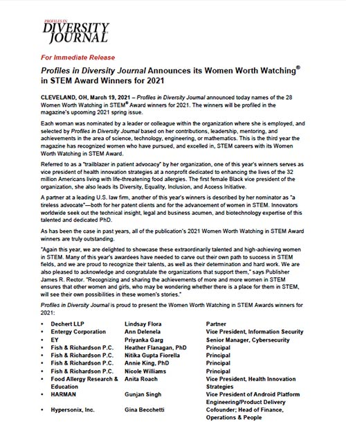 Press Release Profiles in Diversity Journal Announces its Women Worth Watching® in STEM Award Winners for 2021